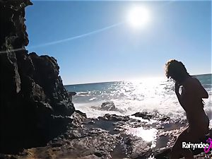 Rahyndee James public beach fucking pov