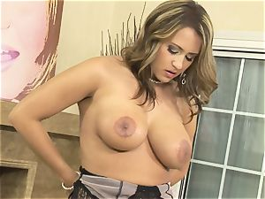 beauty Trina Michaels bringing out her thick bosoms and displaying them to everybody