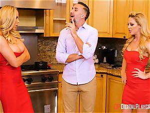 wife Olivia Austin and ex wifey Cherie Deville beaten in the kitchen