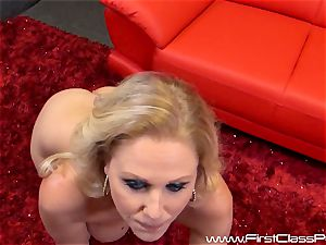 nasty snatch pot milf Julia Ann blowing on a ginormous manhood and getting a huge geyser to her udders