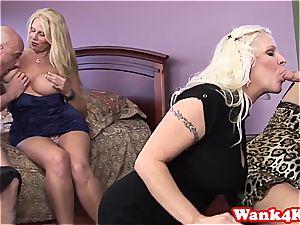 Mature gals exchange jizm after a good sex