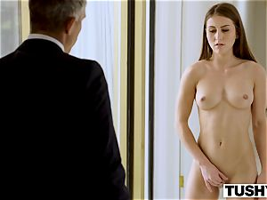 TUSHY secretary Makes Her boss Work For ass-fuck