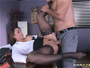 Eva Angelina gets her bosses big chisel across her desk