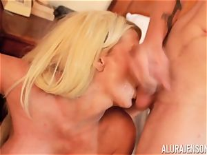 rod fellating crazy threesome Alura Jenson and fellow gives a helping mitt
