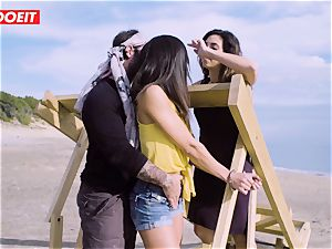 LETSDOEIT - adult movie stars poke a successful dude at the Beach