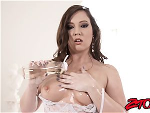 curvy Maddy Oreilly lubricates up for huge fuck-stick insertion