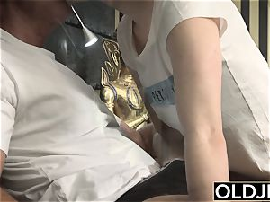 Her youthful snatch Gets poked old dude an Gets jizz On cupcakes