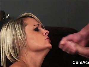 trampy idol gets jizz shot on her face swallowing all the jizm