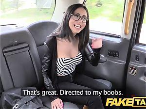 fake cab Spanish brunette with super-cute bald fuckbox
