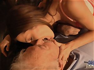 grandpa is drilled by lovely female in News vs Romantic