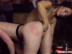 Red-headed hoe Ella Hughes and fatal black-haired Eva Lovia have romp in a nightclub