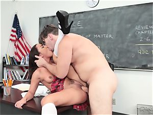 Amara Romani is jammed by the tutor throughout his desk