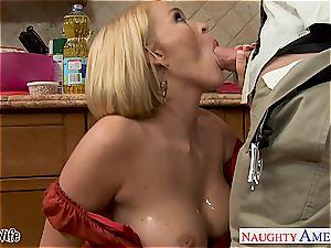 big-chested wife Krissy Lynn munching jism in the kitchen