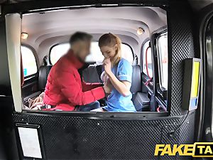 fake cab Nurse in uber-sexy undergarments has car fucky-fucky
