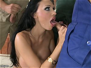 super-naughty lover Aletta Ocean takes one jizz-shotgun at a time dipping steaming in her throat