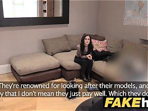 fake Agent UK diminutive teenager gets spunk splattered face