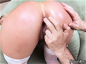 Blazing Alanah Rae is poked up her humid minge