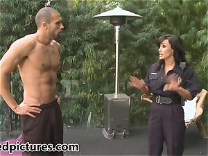 busty cop Lisa Ann gives out her spunk-pump penalty