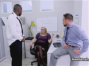 big-titted assistant double plumbed in the office