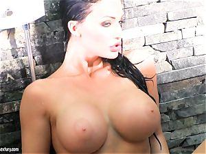 Aletta Ocean burst her boobies with water from shower