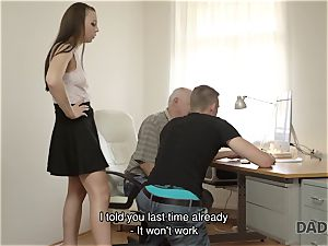 DADDY4K. daddy and youthfull female steaming fucky-fucky in sofa culminates with internal cumshot