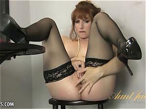 Amber Dawn elations herself wearing hip highs.