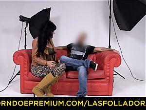 LAS FOLLADORAS - gorgeous performer gets cum in jaws