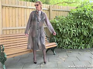 wild cougar wanks in public in nylons garters high-heeled shoes