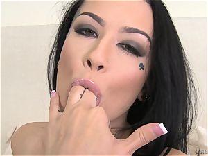 cumming on the hot bumpers of uber-cute Katrina Jade