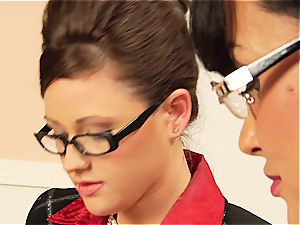 Lisa Ann taunting her coworker's unshaved vag