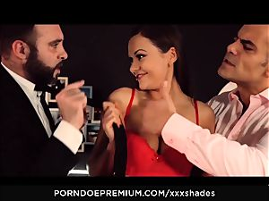 hard-core SHADES - Tina Kay double penetration and fellatio in MMF plumb fest