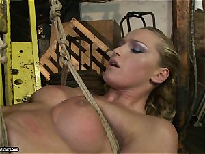 Kathia Nobili and Mandy Bright body strapping with rope
